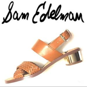 Sam Edelman Brown & Gold open toe heels teena 2